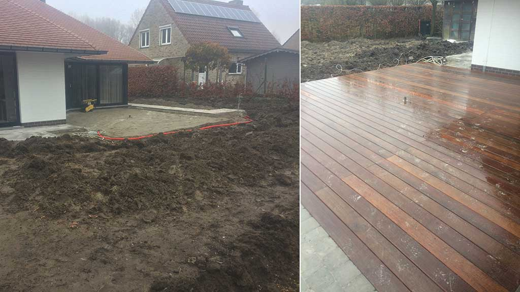 Aanleg terras in klinkers en hout